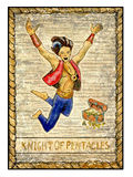 Old tarot cards. Full deck. Knight of pentacles. Knight of pentacles. Full colorful deck, minor arcana. The old tarot card, vintage hand drawn engraved Stock Photos
