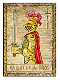 Old tarot cards. Full deck. Knight of Swords. Knight of swords. Full colorful deck, minor arcana. The old tarot card, vintage hand drawn engraved illustration Stock Photography
