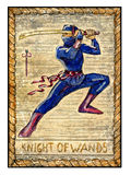 Old tarot cards. Full deck. knight of Wands. Knight of wands. Full colorful deck, minor arcana. The old tarot card, vintage hand drawn engraved illustration with Stock Photo