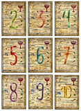 Old tarot cards. Full deck. Numbers of cups. Numbers. Full colorful deck, minor arcana. The old arcana tarot card, vintage hand drawn engraved illustration with Royalty Free Stock Photo