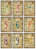 Old tarot cards. Full deck. Numbers of Pentacles Royalty Free Stock Photo