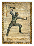 Old tarot cards. Full deck. Page of Swords. Page of swords. Full colorful deck, minor arcana. The old tarot card, vintage hand drawn engraved illustration with Stock Photo