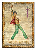 Old tarot cards. Full deck. Page of Wands. Knight of wands. Full colorful deck, minor arcana. The old tarot card, Page of wands. Full colorful deck, minor arcana Stock Images