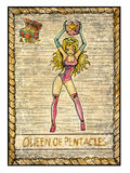 Old tarot cards. Full deck. Queen of pentacles. Queen of pentacles. Full colorful deck, minor arcana. The old tarot card, vintage hand drawn engraved Royalty Free Stock Photos