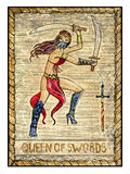 Old tarot cards. Full deck. Queen of Swords. Queen of swords. Full colorful deck, minor arcana. The old tarot card, vintage hand drawn engraved illustration with Stock Photography
