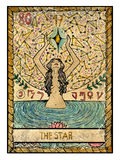 Old tarot cards. Full deck. The Star. The star.  Full colorful deck, major arcana. The old tarot card, vintage hand drawn engraved illustration with mystic Royalty Free Stock Photo