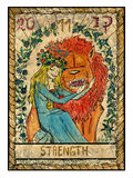 Old tarot cards. Full deck. Strength. Strength.  Full colorful deck, major arcana. The old tarot card, vintage hand drawn engraved illustration with mystic Stock Photos