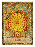 Old tarot cards. Full deck. The Sun. The sun. Full colorful deck, major arcana. The old tarot card, vintage hand drawn engraved illustration with mystic symbols Royalty Free Stock Photography