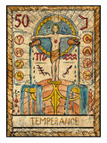 Old tarot cards. Full deck. Temperance. Temperance. Full colorful deck, major arcana. The old tarot card, vintage hand drawn engraved illustration with mystic vector illustration