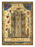 Old tarot cards. Full deck. The Tower. The tower. Full colorful deck, major arcana. The old tarot card, vintage hand drawn engraved illustration with mystic royalty free illustration