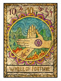 Old tarot cards. Full deck. Wheel of Fortune. Wheel of fortune.  Full colorful deck, major arcana. The old tarot card, vintage hand drawn engraved illustration Royalty Free Stock Images