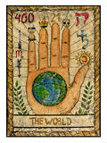 Old tarot cards. Full deck. The World. The world. Full colorful deck, major arcana. The old tarot card, vintage hand drawn engraved illustration with mystic royalty free illustration