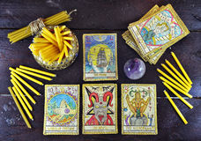 Old tarot cards, magic crystal and candles Royalty Free Stock Photography