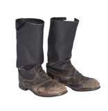Old tarpaulin military boots Stock Photography
