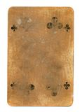 Old tattered playing card of clubs paper background Royalty Free Stock Photos