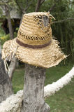 Old tattered straw hat hung on a stake Stock Photo