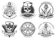 Old Tattoo Anchor Set. With ocean journey nautical heritage anchors aweigh ocean spirit descriptions vector illustration Royalty Free Stock Images