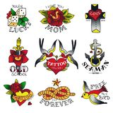 Old Tattooing School Emblems Royalty Free Stock Photography