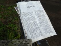Old Tatty Lost Bible Opened At Genesis Stock Photo