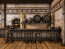 Old tavern counter. With wooden stools and barrels Royalty Free Stock Photos