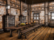 Old tavern interior. Tables and benches in an old wooden tavern Royalty Free Stock Image