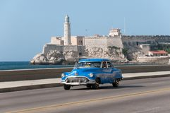 Old taxi in avenue of Havana. Cuba.11-05-2015 Royalty Free Stock Image