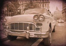 Old taxi in New York City. Vintage filtered Stock Photography