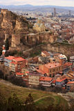 Old Tbilisi. Is located on the both sides of the Mtkvari River and is dominated by Mount Mtatsminda and Narikala fortress Stock Photography