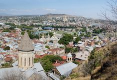 Old Tbilisi panorama with top of Saint Bethlehem Church,Georgia Stock Image