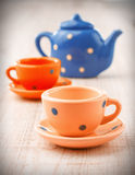Old tea cups and pot Royalty Free Stock Images
