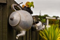 The old tea pot as decoration royalty free stock photography