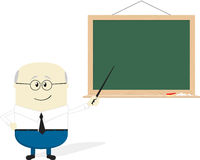 Old teacher cartoon. Illustration of teacher cartoon and blackboard isolated on white background, flat design Stock Photos