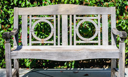 Old teak bench close up photo Royalty Free Stock Photography
