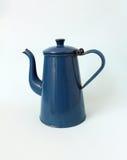 Old Teapot. Single retro blue Teapot white background Stock Photography