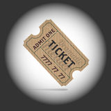 Old teathre ticket in projector light. Vector illustration Stock Image