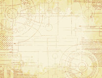 Old Technical Drawing. Grungy old technical blueprint illustration on faded paper background Stock Photography