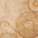 Old technical drawing of gears on paper in grunge style. On the image is presented old technical drawing of gears on paper in grunge style Stock Image