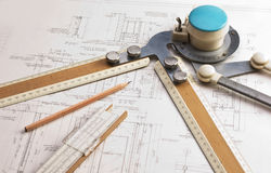 Old technical drawings Stock Photography