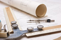 Old technical drawings Stock Photo