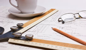Old technical drawings Royalty Free Stock Photos