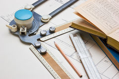 Old technical drawings Stock Image