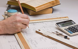 Old technical drawings Stock Images
