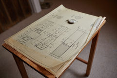 Old technical plan with pen on old table Royalty Free Stock Image