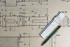 Old technical plan with pen on old table Royalty Free Stock Photography