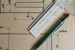 Old technical plan with pen on old table Royalty Free Stock Photos