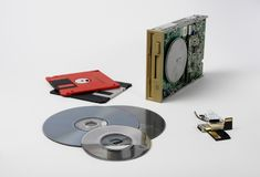 The old technology that has gone down in history: the drive and its floppy disks. The technology is not long past, which is still stock images