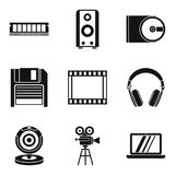 Old technology icons set, simple style Stock Photos