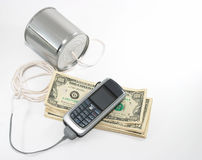 Old technology talk to new technology equipment, costs money Stock Photography