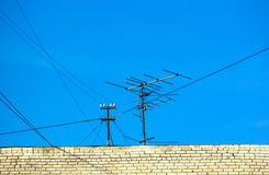 Old technology of TV antenna Stock Photography