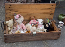 Old teddy bears. Wooden box with old teddy bears at flea market Stock Images